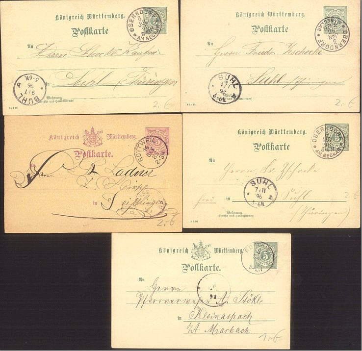 WÜRTTEMBERG 1885-1896,Ganzsachen, ROTTWEIL / OBERNDORF
