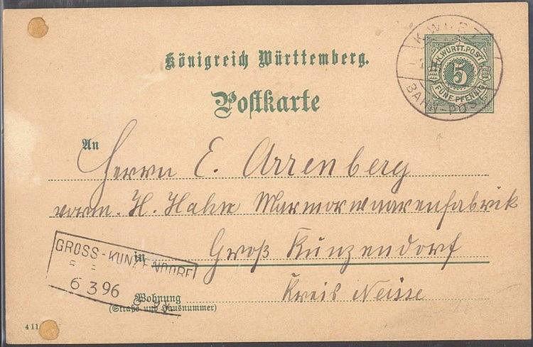 1896 BAHNPOST, von WURMLINGEN (TUT) nach GROSS-KUNZENDORF