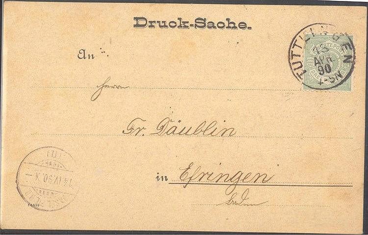 WÜRTTEMBERG 1890, Drucksache ab TUTTLINGEN