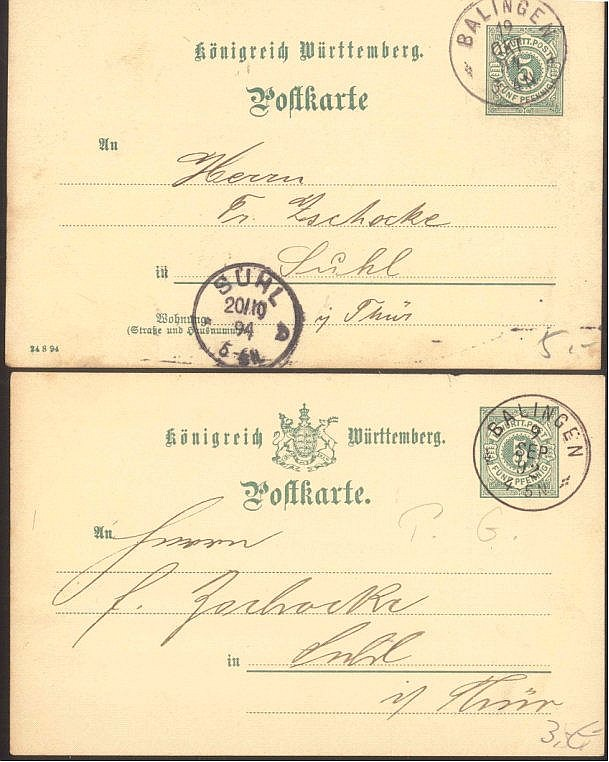 WÜRTTEMBERG 1892-1894, 2 Ganzsachen ab BALINGEN