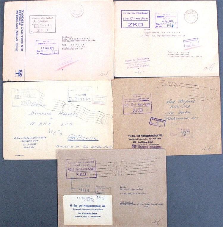 DDR 1969/1971 ZENTRALER KURIERDIENST, Kammer der Technik!