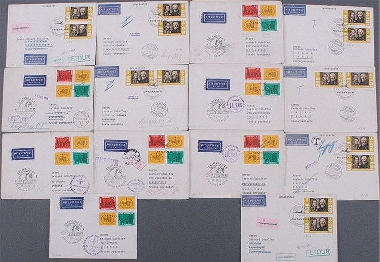 1964 DDR LUFTPOST USA, JAPAN, Dänemark, Ungarn, Albanien...
