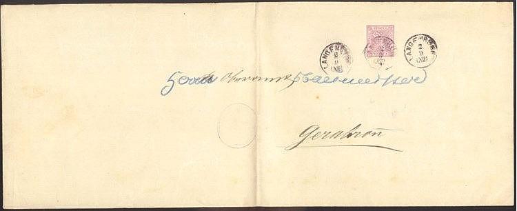WÜRTTEMBERG 1892, Ganzsache im FORMAT B 353 x 140 mm