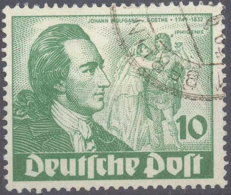 1949 Berlin, 10 Pfennig Goethe mit Plattenfehler I