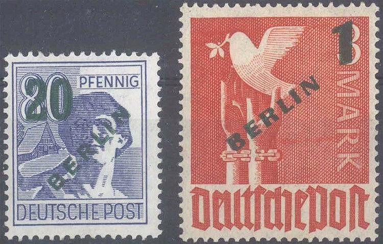 1949 Berlin, beide Höchstwerte des Grünaufdruckes