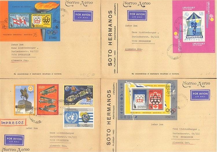 URUGUAY 1974-1978, seltene BLOCKFRANKATUREN
