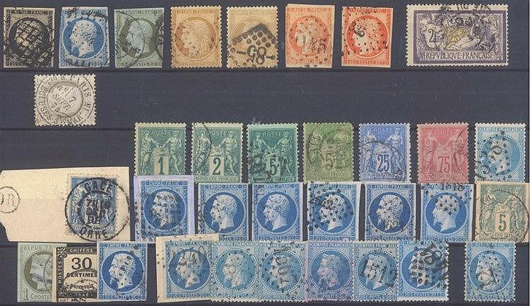 FRANKREICH 1849-1900, kleines Lot von 33 Werten