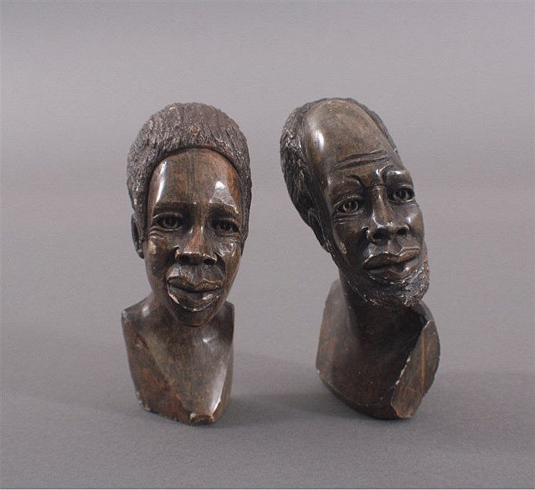 Zwei Büsten, Afrikaner, Speckstein