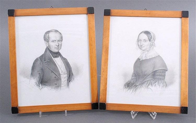 Paar Bleistiftzeichnung, mitte 19. Jh. 'Mann und Frau'