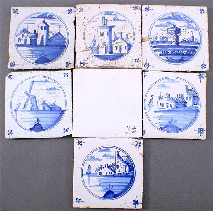7 verschiedene Fliesen, dabei 6 holländische