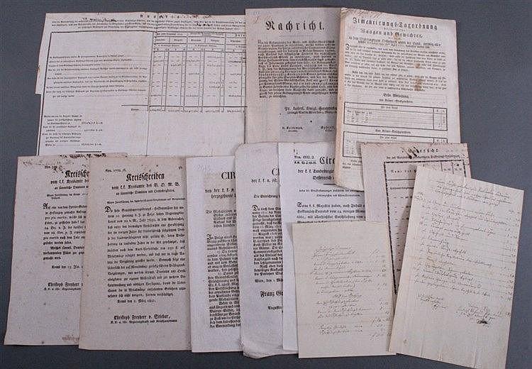 11 x Historische Dokumente, Circulare, Rundschreiben etc.