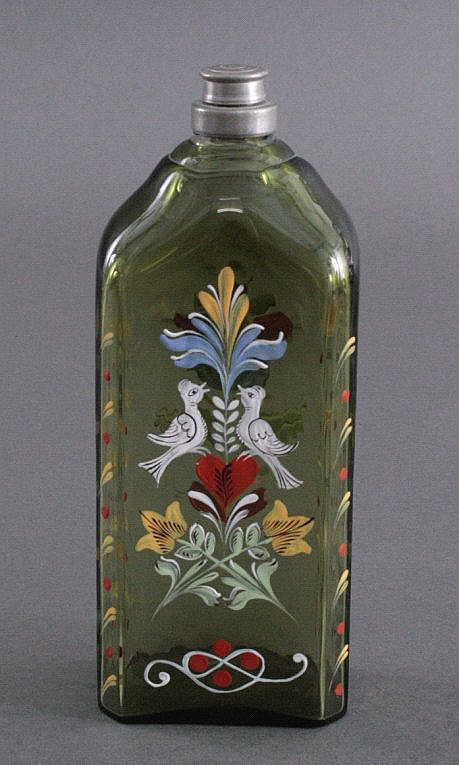 Emaillebemalte Flasche, Süddeutschland, 19. Jh.