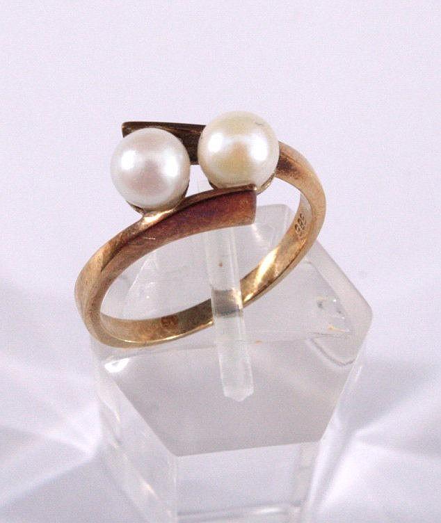 Damenring mit 2 Perlen, 585/000 GG