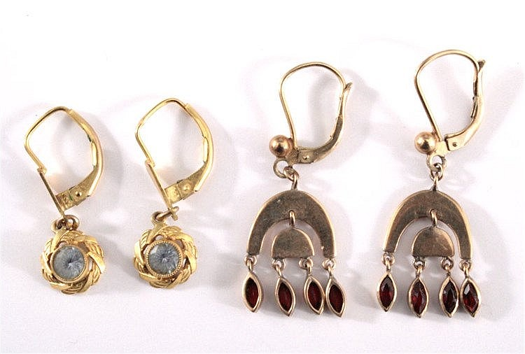 2 Paar Ohrringe mit Aquamarin und Granat