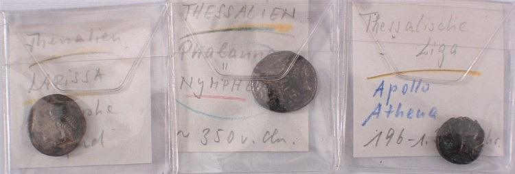 3 antike Münzen Thessalien, Thessalische Liga, Thessaly