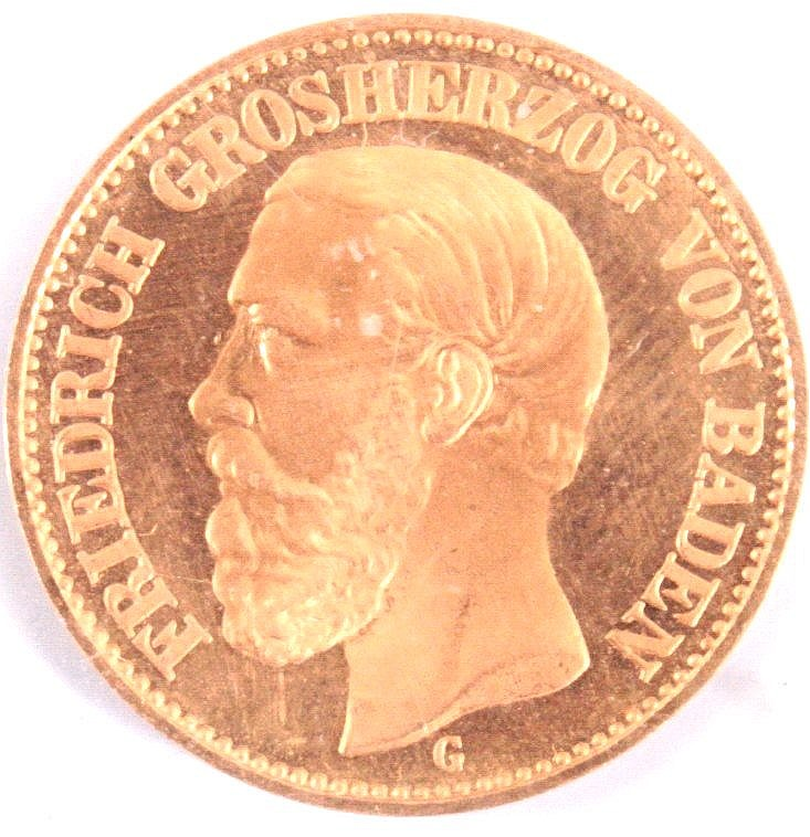 20 Mark Friedrich Großherzog von Baden, 1874 G Nachprägung