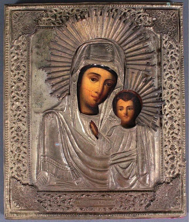 Ikone mit Oklad, Russland 19. Jh. Maria und Jesuskind
