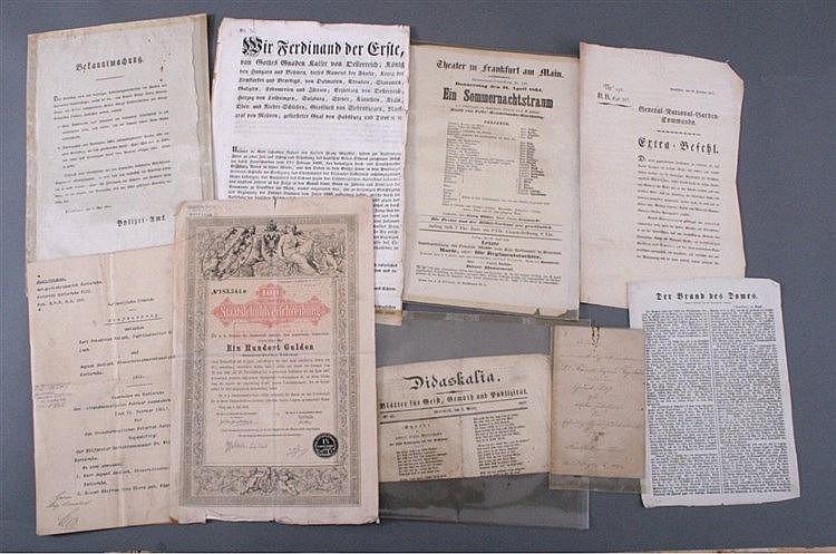 Verschiedene Dokumente und Schriften, ab 1803, Frankfurt