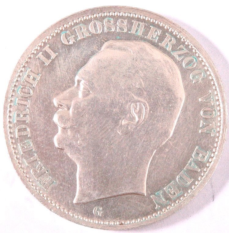 Baden 3 Mark 1908 G Silber