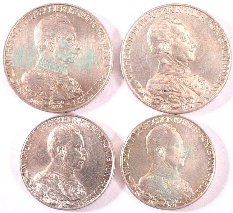 4 Silbermünzen Preussen