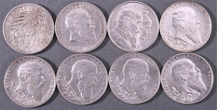 7 Stück 2 Mark Baden, 1902-1907, Silber