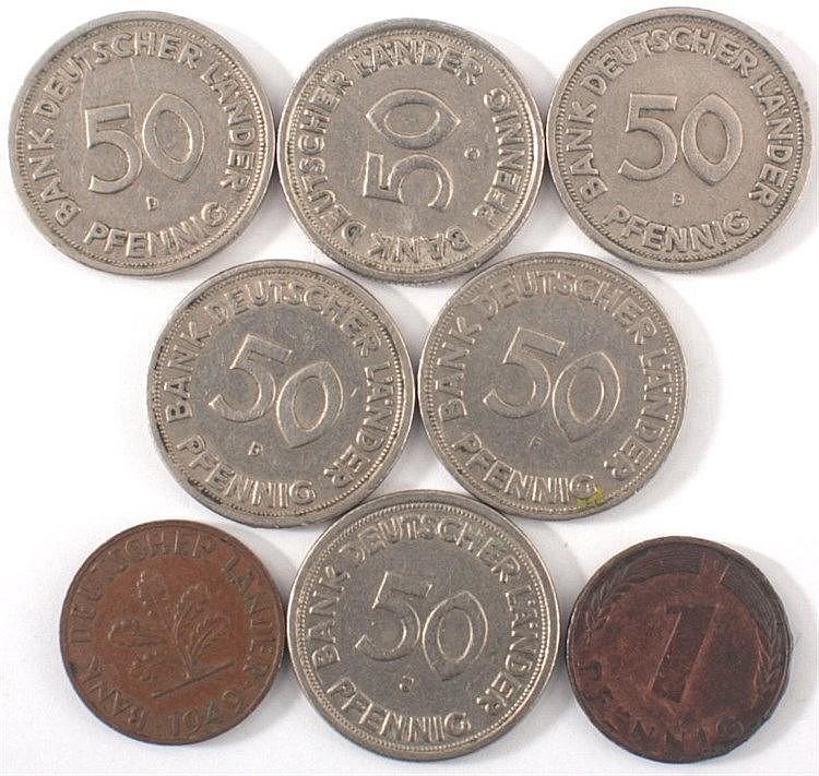 Konvolut Bank deutscher Länder, 6x 50Pfg + 2x 1 Pfg Stücke