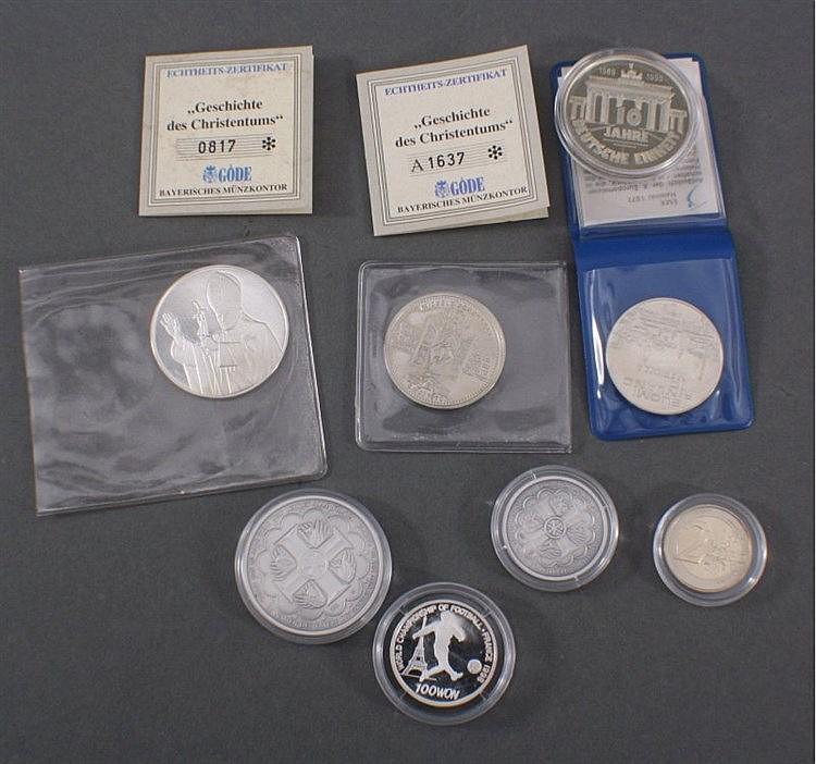 Sammlung Silbermedaillen und 2 Euro Münze Letzeburg