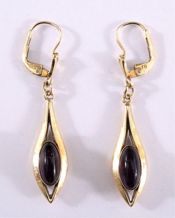 Paar Ohrringe mit Ametyst, 585/000 GG