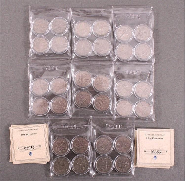 Sammlung 1 DM Münzen komplett 1954-1961