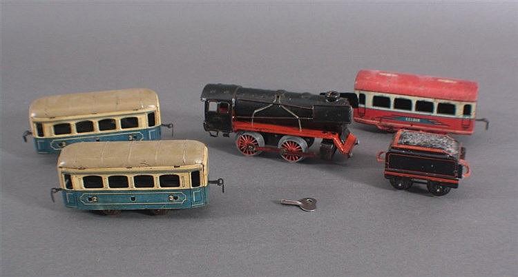 Beck Dampflok, Uhrwerk + 3 Personenwagen und Tender Spur 0