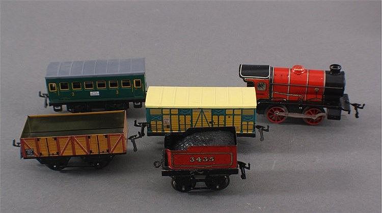 Hornby, Lok (alt), rot mit Tender + 3 Wagen, Spur 0