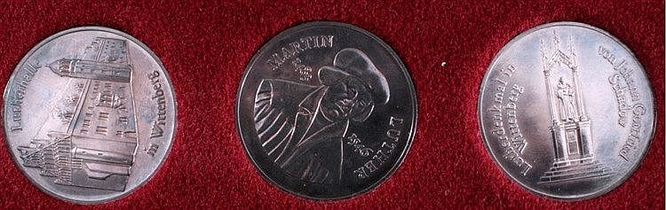 3 Medaillen DDR, Silber, Martin Luther 1983