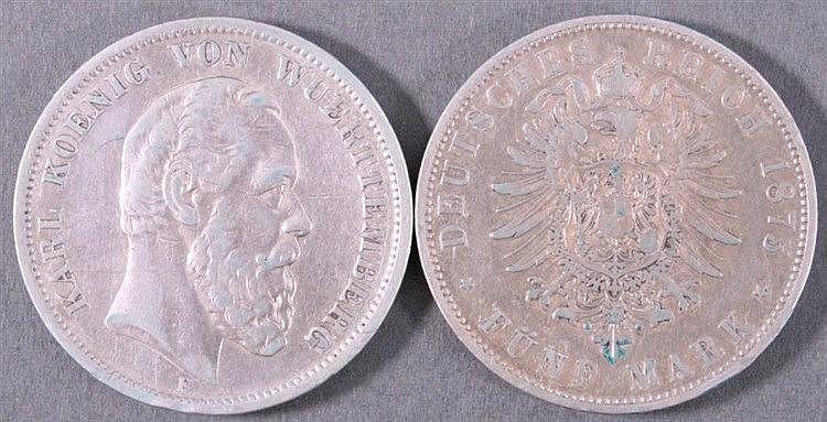 2 Stück 5 Mark, Karl König v. Württemberg