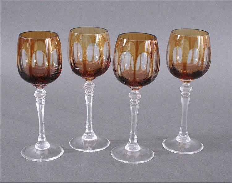 Vier WMF Cristal Cabinet Römer