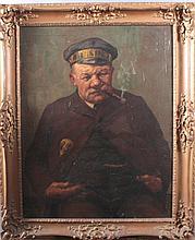 Adolf Hacker 1873-1943. Rauchender Mann mit Kappe