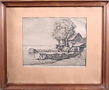 Oskar Graf 1873-1957, Flusslandschaft mit Haus