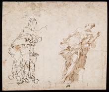 SAGRESTANI. Two studies of heroines from classical mythology. Drawing.