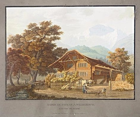 [Swiss] 2 etchings of landascpaes