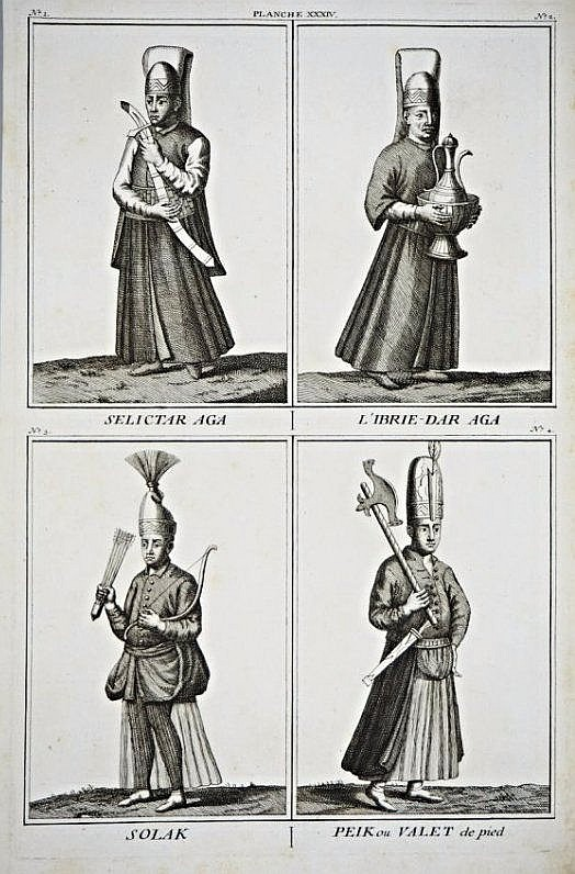 [Military costumes] 4 Persian Costumes, XVIII secolo