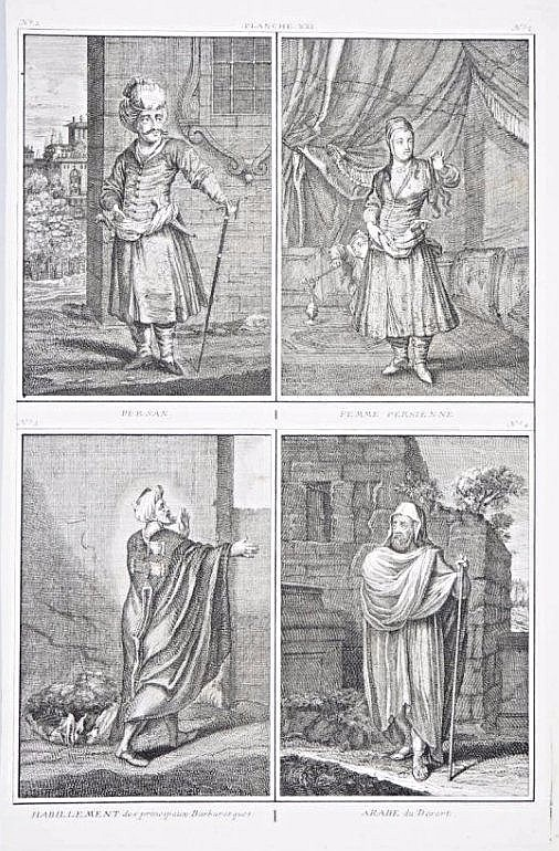 [Persia - Costumes] 4 Views of Persia, XVIII century