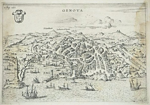 [Genova] 5 engravings of landscapes and costumes