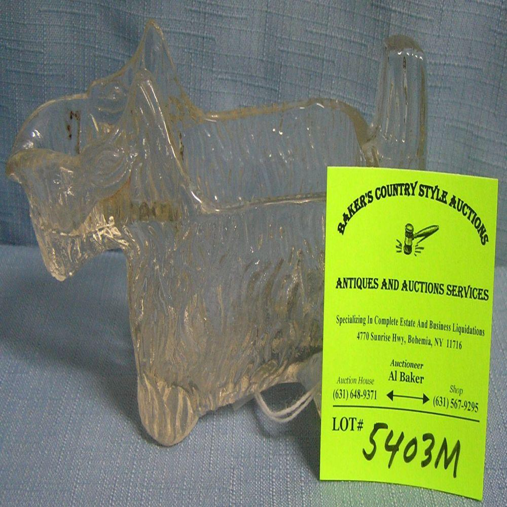 Early glass dog candy container