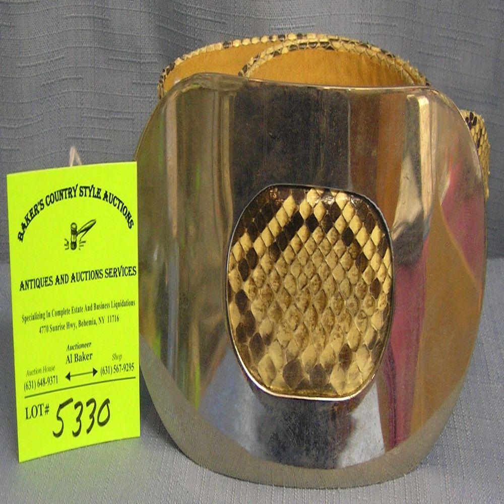 High quality snake skin belt with chrome buckle