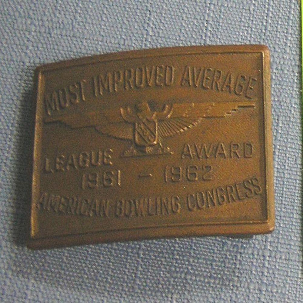 Most improved average bowling award belt buckle