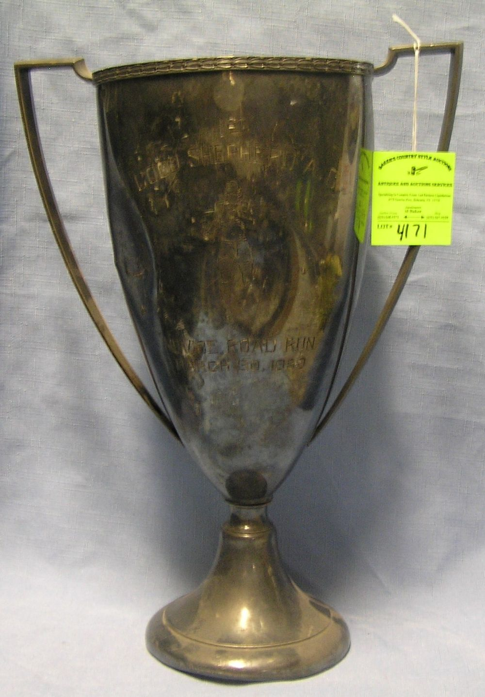 ANTIQUE SILVER PLATED PRESENTATION TROPHY