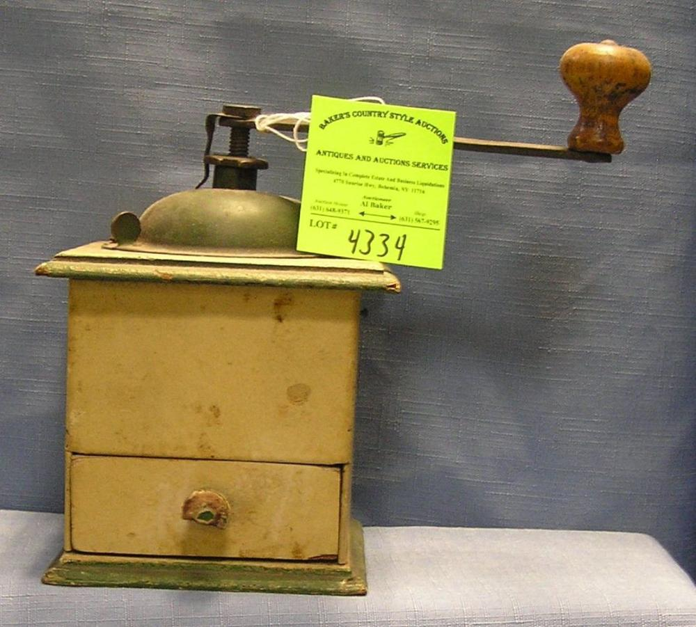 ANTIQUE HAND PAINTED COFFEE GRINDER