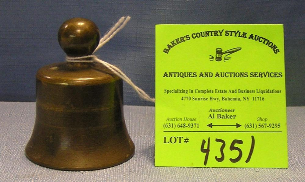 ANTIQUE SOLID BRASS BELL SHAPED PAPERWEIGHT