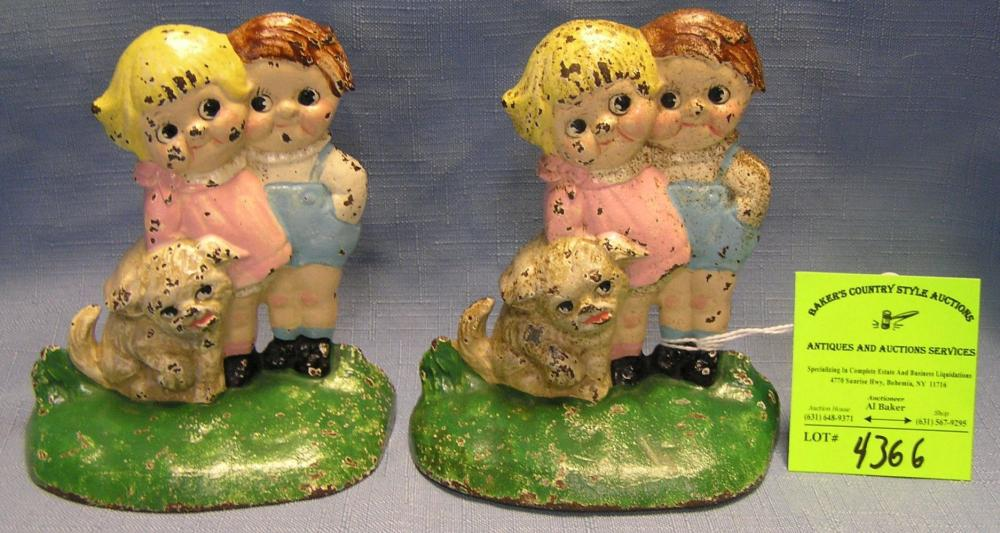 CAMPBELL KIDS HAND PAINTED CAST IRON BOOKENDS