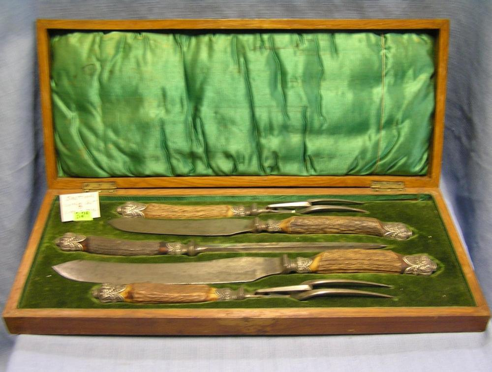 ANTIQUE SHEFFIELD BONE HANDLED CARVING SET