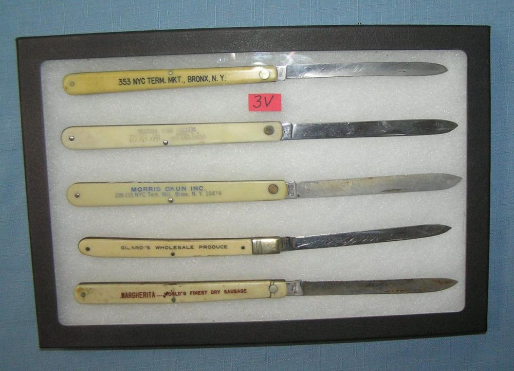 COLLECTION OF CELLULOID AND STAINLESS STEEL FRUIT KNIVES